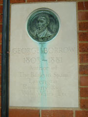 Plaque on wall outside Borrow House