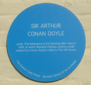 Plaque on wall of Hill House pub for Sir Arthur Conan Doyle