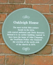 Plaque on Oakleigh House